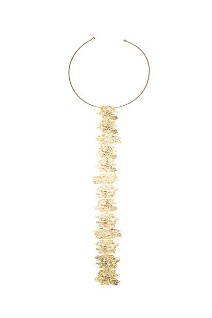 Scritture, collana, bronzo dorato