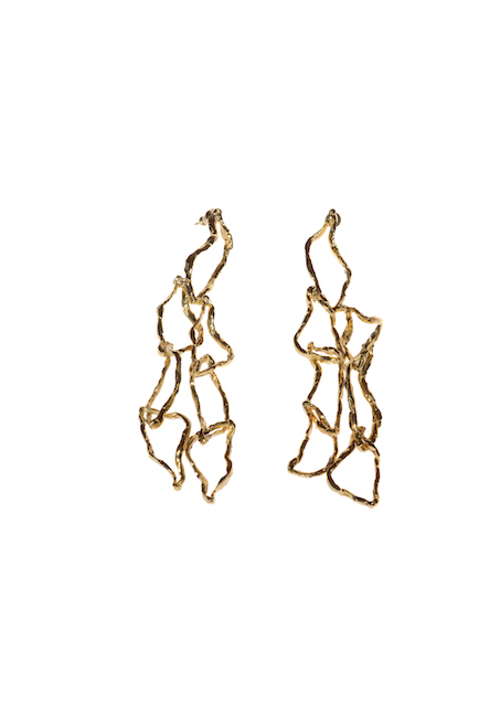 Fossili, orecchini, bronzo dorato