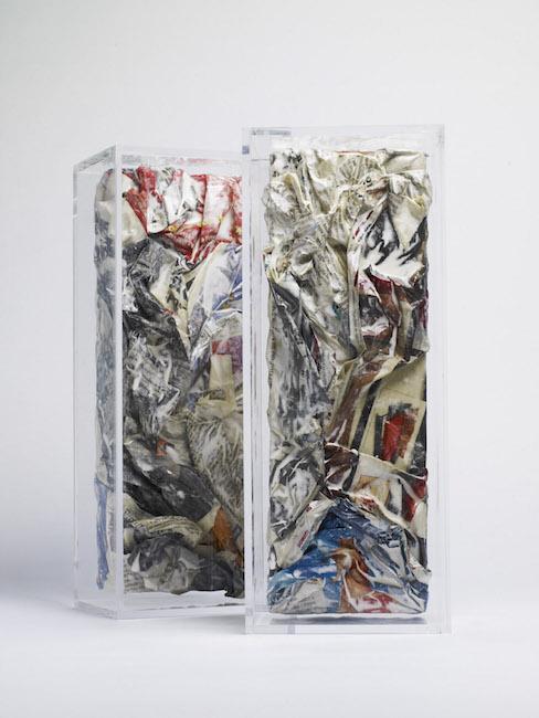 Nuova nascita, 2009, polimaterico e plexiglass, 105 x 13,5 x 33 cm cad.